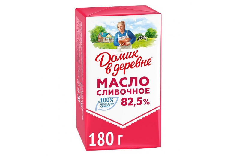 """СЛИВОЧНОЕ МАСЛО """"ДОМИК В ДЕРЕВНЕ"""" 82.5% 180Г"""