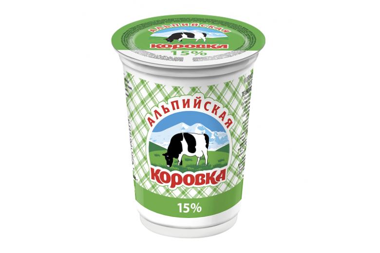 """Сметанный продукт """"Альпийская коровка"""" 15% 400г"""
