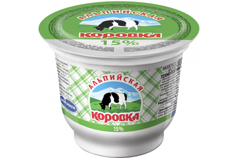 """Сметанный продукт """"Альпийская коровка"""" 15% 200г"""