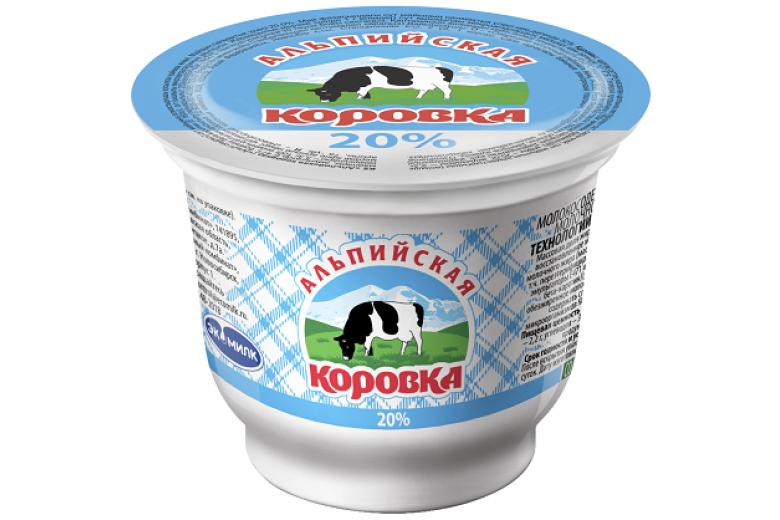 """Сметанный продукт """"Альпийская коровка"""" 20% 200г"""