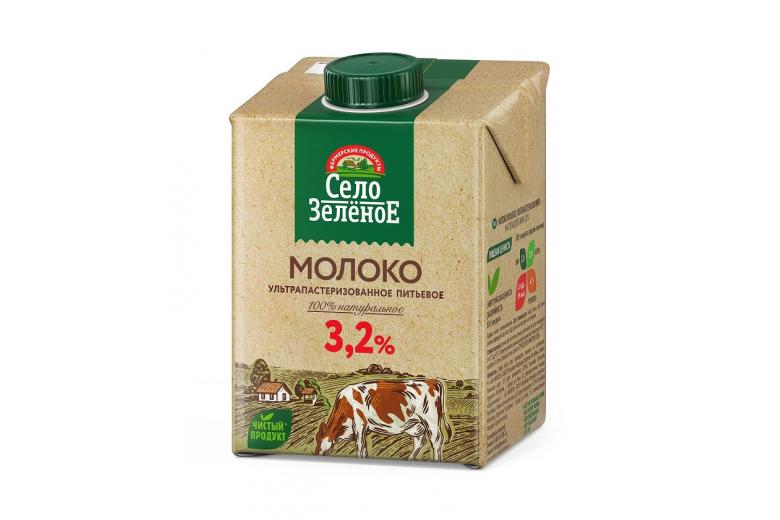 "Молоко ""Село зеленое"" 3.2% 0.5кг"
