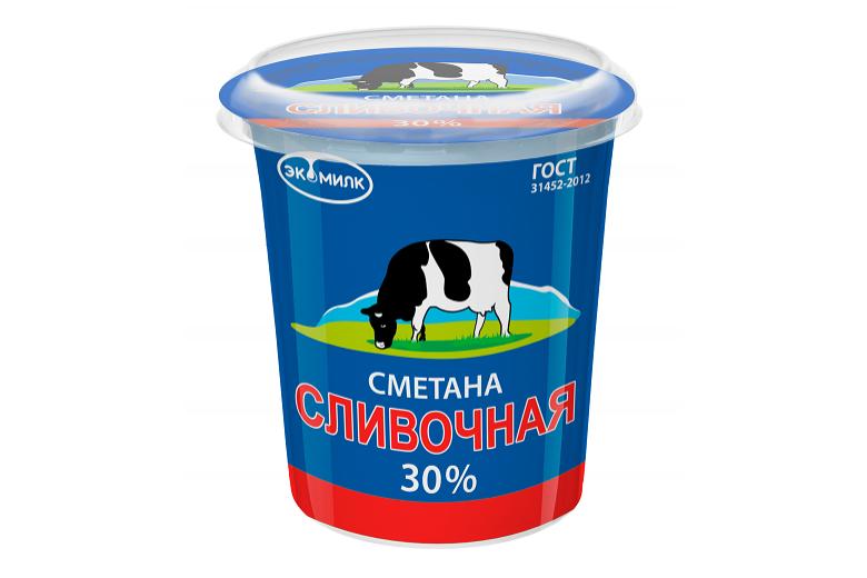 """Сметана """"Сливочная Экомилк"""" 30% 315г"""
