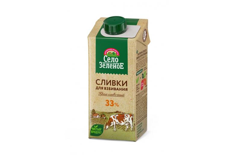 "Сливки ""Село зеленое"" 33% 500г"