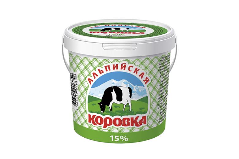 """Сметанный продукт """"Альпийская коровка"""" 15% ведро 900г"""