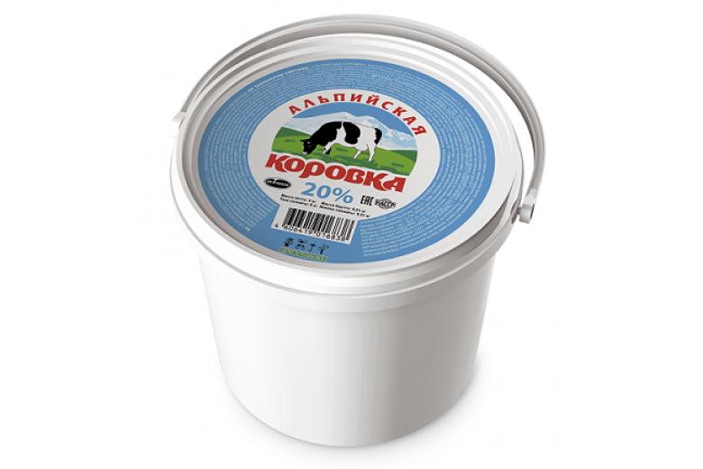"""Сметанный продукт """"Альпийская коровка"""" 20% ведро 5кг"""