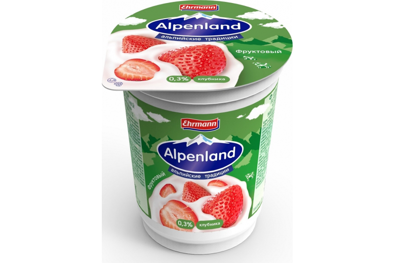Йогурт Alpenland 0.3% 320 г клубника