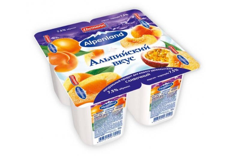 Йогурт Alpenland 7.5% 95 г абрикос-персик-маракуйя