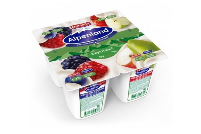 Йогурт Alpenland 0.3% 95 г лесные ягоды-яблоко-груша