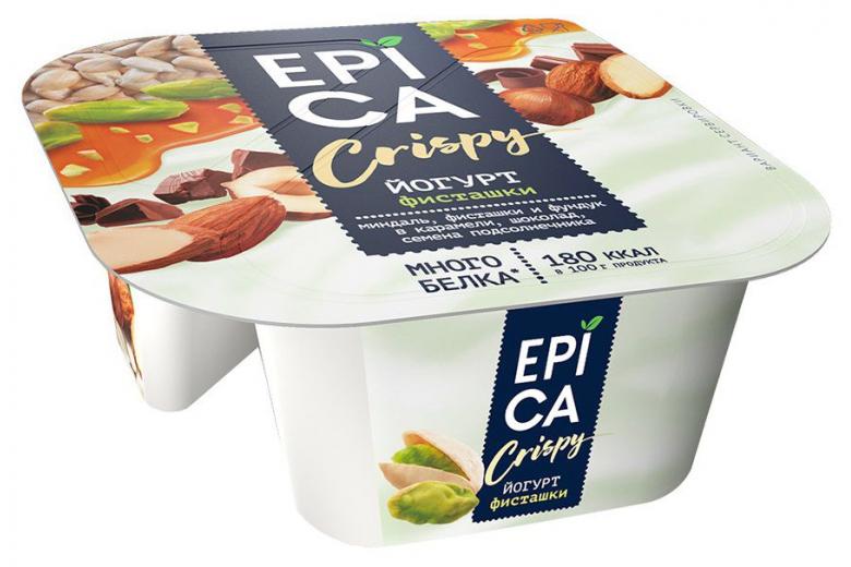 Йогурт Epica Crispy фисташки-семена-шоколад 138г