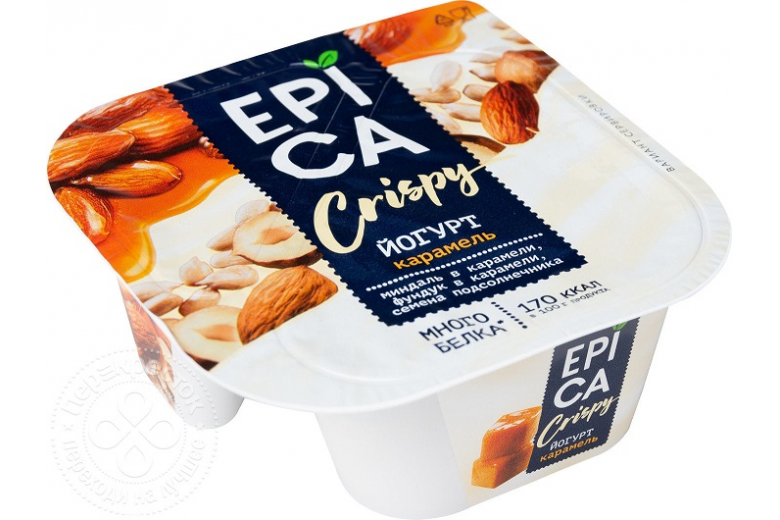 Йогурт Epica Crispy карамель-семена-орехи 138г