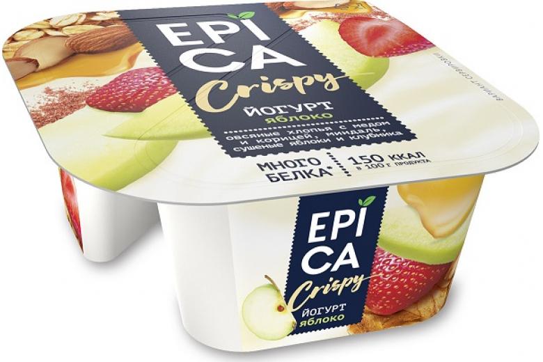 Йогурт Epica Crispy яблоко-мюсли-орехи 138г