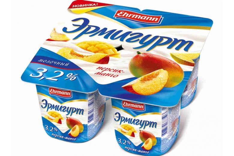 """Йогурт """"Эрмигурт"""" сливочный 100г персик-манго"""