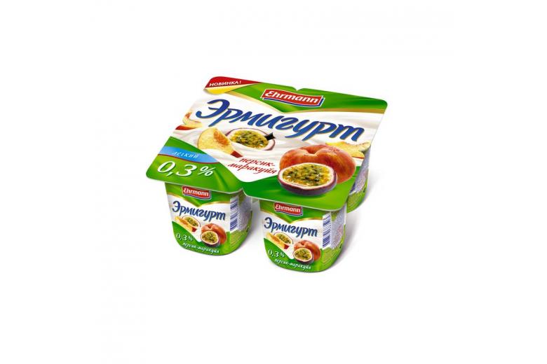 """Йогурт """"Эрмигурт"""" легкий 100г персик-маракуйя"""