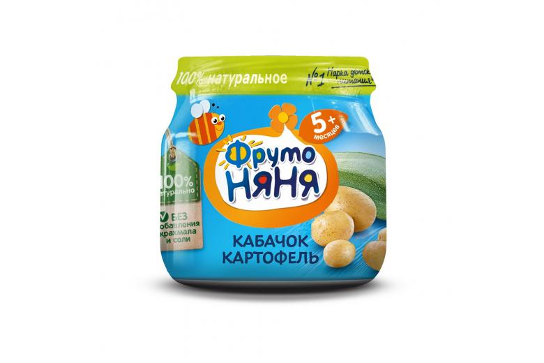 """Овощное пюре """"Фрутоняня"""" ст/банка 80г кабачок-картофель"""