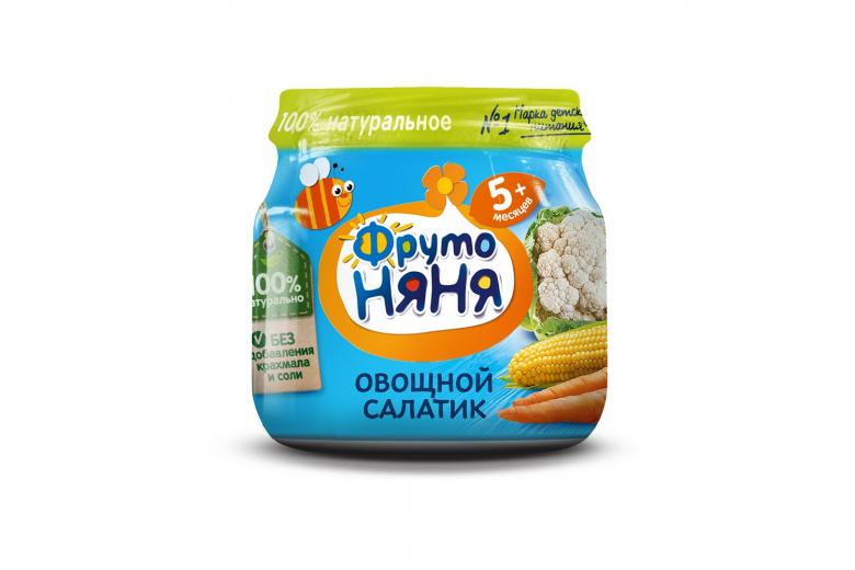 """Овощное пюре """"Фрутоняня"""" ст/банка 80г овощной салатик"""