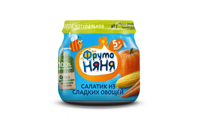 """Овощное пюре """"Фрутоняня"""" ст/банка 80г сладкий салатик"""