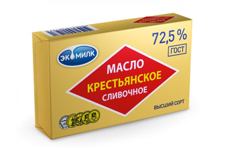 """Сливочное масло """"Крестьянское Экомилк"""" 72.5% 180г"""