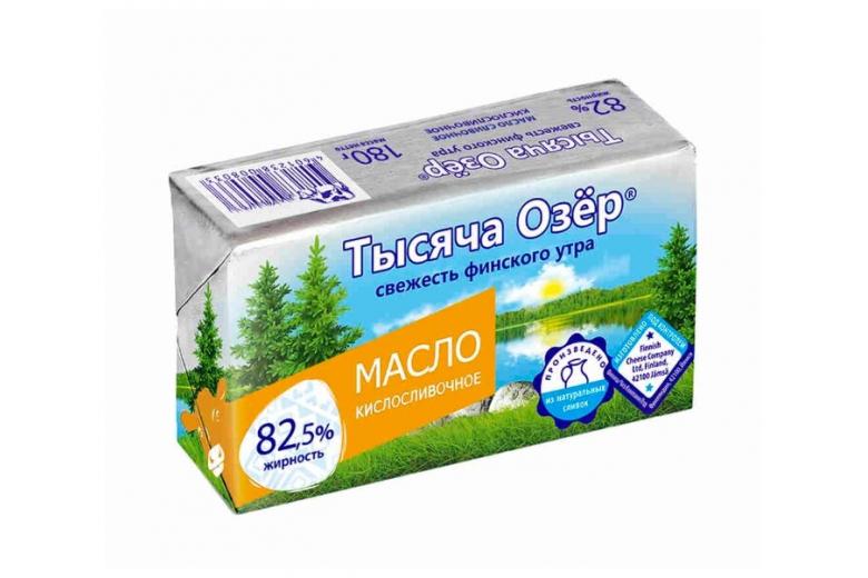 """Сливочное масло """"Тысяча озер"""" кислосливочное 82.5% 180г"""