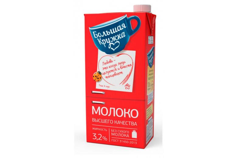 """Молоко """"Большая кружка"""" ГОСТ 3.2% 1980г"""