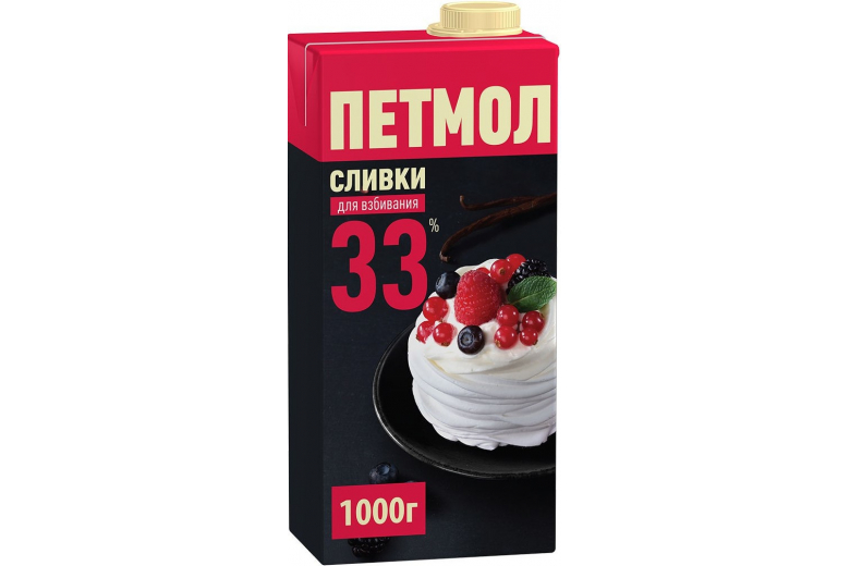 """Сливки """"Петмол"""" 33% 1000г"""