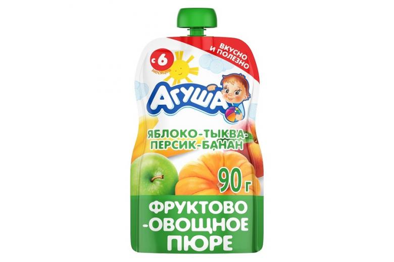 """Овощное пюре """"Агуша"""" яблоко-тыква-персик-банан 90г"""