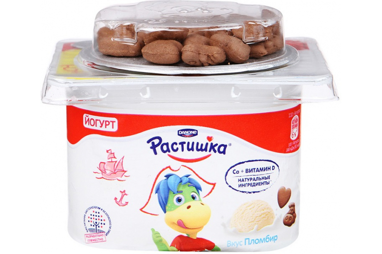 "Йогурт с печеньем ""Растишка"" яблоко-груша 115г"