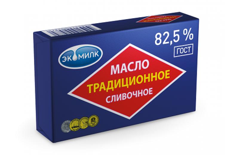 """Сливочное масло """"Традиционное Экомилк"""" 82.5% 180г"""