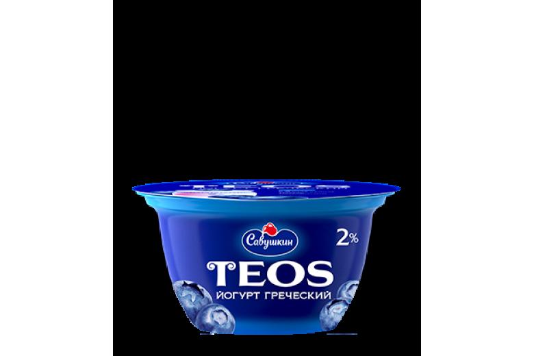 "Йогурт греческий Teos ""Савушкин продукт"" черника 130г"
