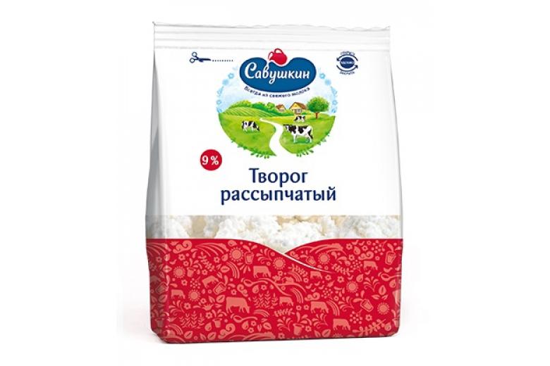 """Творог """"Савушкин продукт"""" рассыпчатый 9% 350г"""