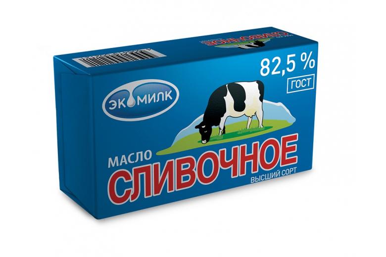 """Масло """"Сливочное Экомилк"""" 82.5% 450г"""