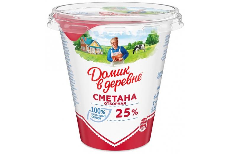 """СМЕТАНА """"ДОМИК В ДЕРЕВНЕ"""" 25% 300Г"""