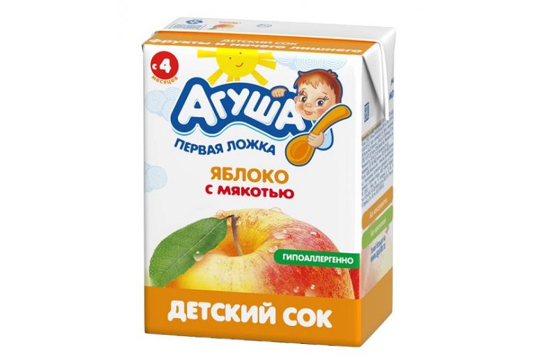 """Сок """"Агуша"""" яблоко с мякотью 200г"""