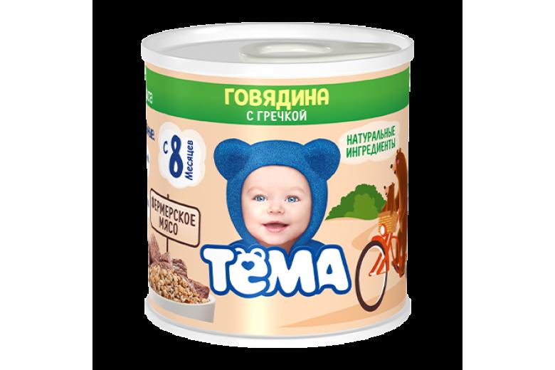 """Мясорастительное пюре """"Тема"""" говядина-гречка 100г"""