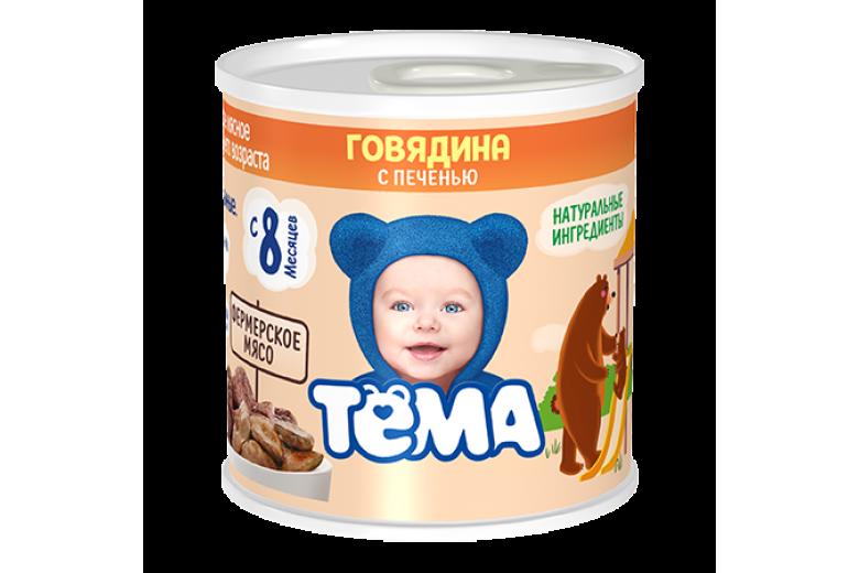 """Мясное пюре """"Тема"""" говядина-печень 100г"""