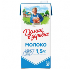 """МОЛОКО """"ДОМИК В ДЕРЕВНЕ"""" 1.5% 950Г"""