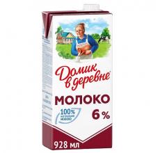 """МОЛОКО """"ДОМИК В ДЕРЕВНЕ"""" 6% 950Г"""
