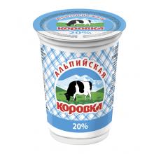 """Сметанный продукт """"Альпийская коровка"""" 20% 400г"""