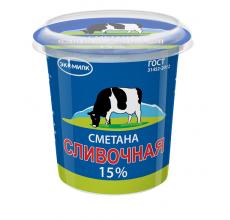 """Сметана """"Сливочная Экомилк"""" 15% 330г"""
