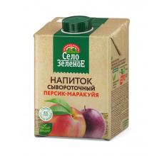 """Напиток сывороточный """"Село зеленое"""" персик-маракуйя 500г"""