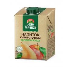 """Напиток сывороточный """"Село зеленое"""" яблоко-груша 500г"""