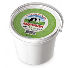 """Сметанный продукт """"Альпийская коровка"""" 15% ведро 5кг"""