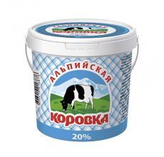 """Сметанный продукт """"Альпийская коровка"""" 20% ведро 900г"""