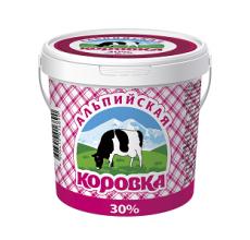 """Сметанный продукт """"Альпийская коровка"""" 30% ведро 900г"""