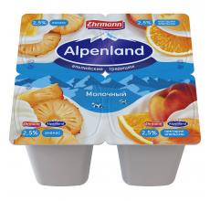 Йогурт Alpenland 2.5% 95 г ананас-нектарин-апельсин