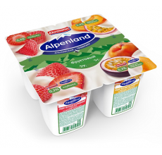 Йогурт Alpenland 0.3% 95 г клубника-персик-маракуйя