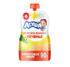 """Фруктовое пюре """"Агуша"""" яблоко-банан-печенье 90г"""