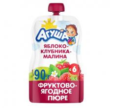 """Фруктовое пюре """"Агуша"""" яблоко-клубника-малина 90г"""