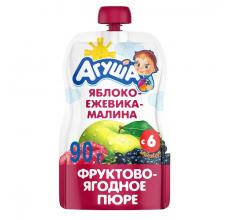 """Фруктовое пюре """"Агуша"""" яблоко-ежевика-малина 90г"""