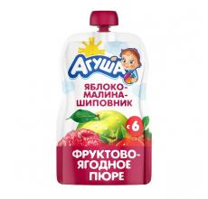 """Фруктовое пюре """"Агуша"""" яблоко-малина-шиповник 90г"""