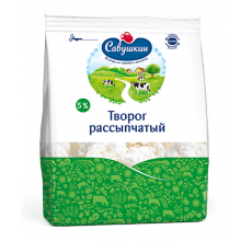 """Творог """"Савушкин продукт"""" рассыпчатый 5% 350г"""